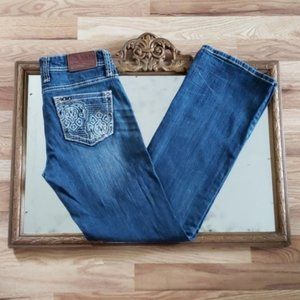 Adiktd Distressed Bling Pocket Flare Jeans Size 4